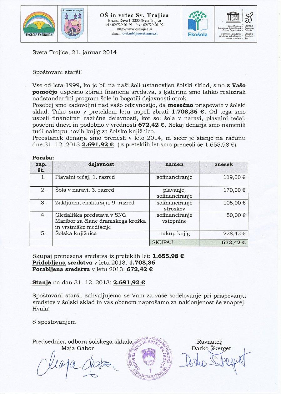 Poročilo šolskega sklada – januar 2014